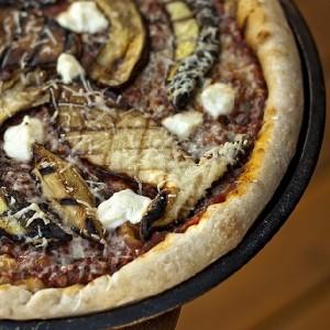 Grilled wild mushroom pizza