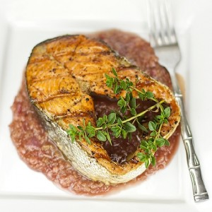 Grilled wild-caught salmon with rhubarb sauce